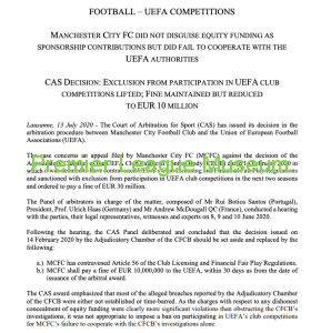 FFP Case Ruling Manchester City